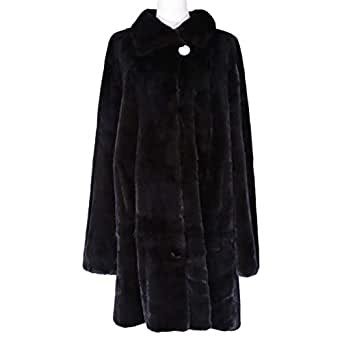 Costa Brown Fur Babydoll Coat For Women
