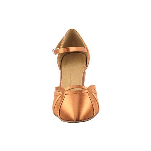 Gold Pigeon Shoes Party Party SERA3540 Comfort Evening Dress Pumps, Wedding Shoes: Women Ballroom Dance Shoes Medium Heel 3540- Tan Satin