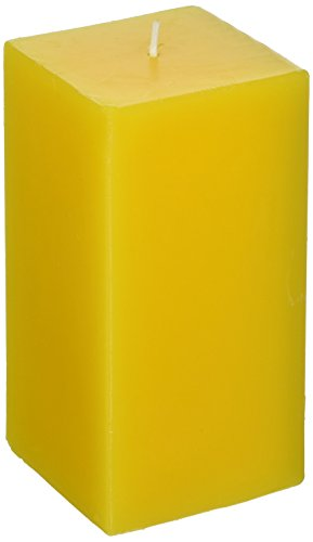 Zest Candle Pillar Candle, 3 by 6-Inch, Yellow Square (Pillar Square Candle)