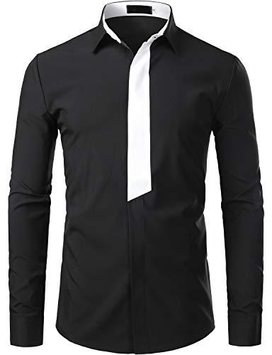 ZEROYAA Men's Hipster Contrast Trim Design Slim Fit Long Sleeve Casual Button Down Dress Shirts ZZCL20 Black Large