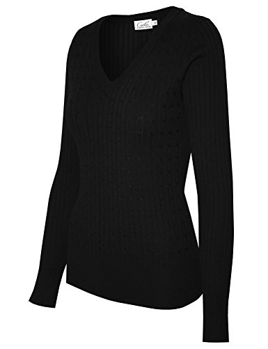 (Cielo Women's Basic Solid Stretch V-neck Cable Knit Pullover Sweater Black XL)