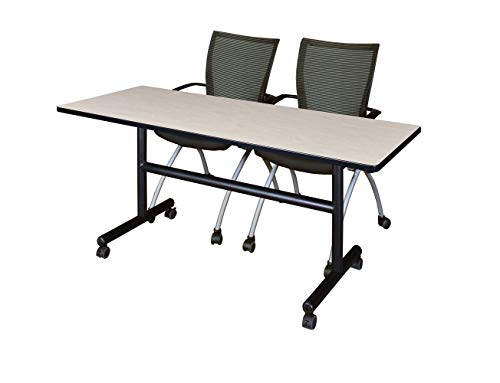 Regency MKFT6030PL09BK and 2 Apprentice Nesting Chairs Flip Top Mobile Training Table 60 Maple/Black