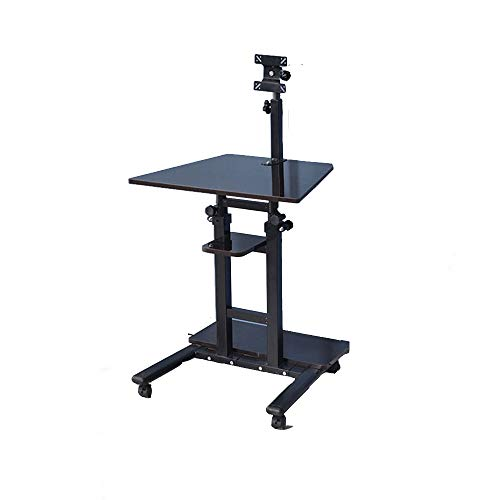 Mobile Stand Up Desk Height Adjustable Rolling Sit-Stand Desk Mount Workstation Monitor Laptop and Keyboard Mount White Maple Oak Color Black Walnut (Color : Black Walnut) -