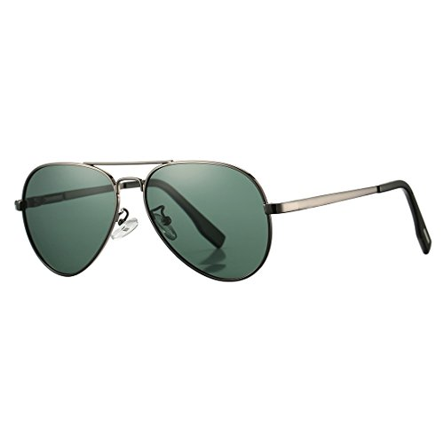 Polarized Aviator Sunglasses for Juniors Small Face Women Men Vintage UV400 Protection Shades(Gunmetal Frame/G15 Green Lens)