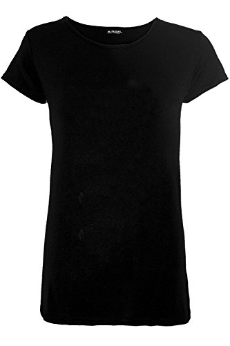 Be Jealous Women Ladies Cap Sleeve Plain Round Neck T-Shirt Casual Tunic Tee Top Sizes (Plus Size T-shirt Cap)