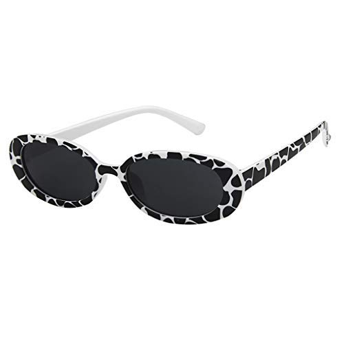 Haluoo Vintage Small Sunglasses Oval Slender Clout Goggles Bold Oval Retro Mod Kurt Cobain Sunglasses for Women Men (Zebra)