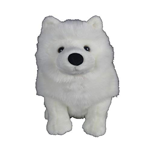 (SJSXT 28cm Lifelike Samoyed Stuffed Toys Cute Simulation White Dog Plush Toy Puppy Plush Animals Toy Birthday)