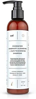 CEL MD Stem Cell Anti Dandruff Shampoo | Organic Nanotech Anti-Dandruff Treatment for Damaged Hair and Dry Scalp | Natural Microstem Ginseng, Ginge, Balm Mint, Castor Oil and Biotin