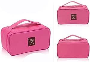 شنطة سفر لمستحضرات التجميل- الاغراض الشخصية - شنطة تخزين للملابس الداخلية وحمالات الصدر- بينك