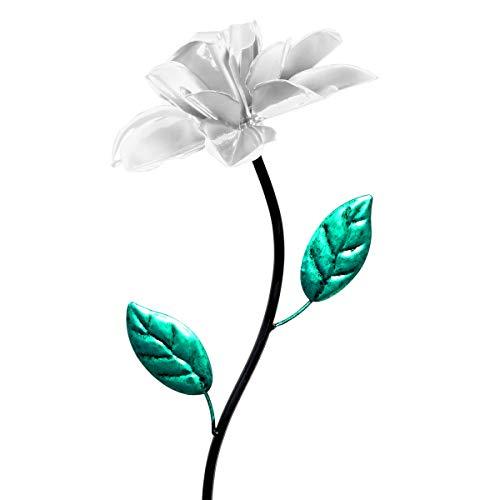 Exhart White Rose Wind Spinner Garden Stake - Single Rose Flower Spinner Hand Painted in Metallic White & Green Colors - Fade-Resistant Metal Rose Pinwheel - Kinetic Art Flower Décor, 8
