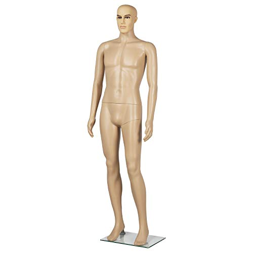 Yaheetech 72 inches Male Mannequin Adjustable Detachable Plastic Full Body Mannequin Dress Form w/Base