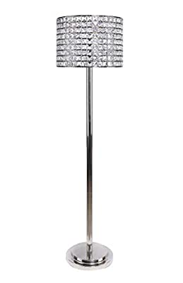"Grandview Gallery 58"" Polished Nickel Modern Glam Floor Lamp with Faceted Genuine Crystal Beaded Metal Drum Shade and Tiered Round Base - Bling Lighting for The Bedroom, Living Room, and Office"