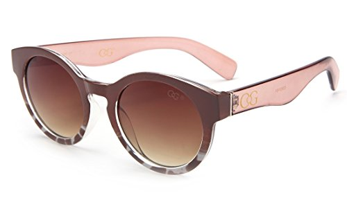 Laura Fairy Women's/ladies' Gradient Leopard Design Vintage Style Round Sunglasses (brown)