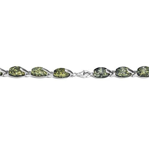Bracelet en Argent Fin et Ambre Vert - 18,5 cm
