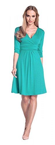 Glamour Empire Para Mujer Vestido Skater Fruncido Delantera Cruzada. 282A Verde Azulado