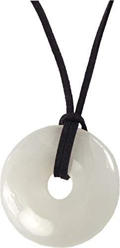 Unisex Pendant, Gemstone Quartz Donut 45mm Pendant + Faux Leather Cord + FREE GIFT BAG (45mm Donut Pendant)