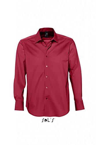 SOLS Herren Herren Stretch-Langarmhemd Brighton 17000 Cardinal Red S