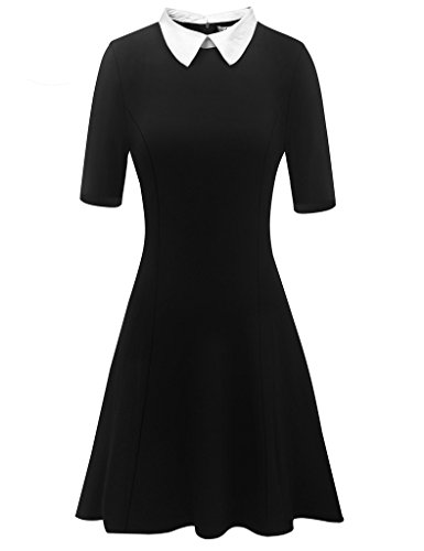 Aphratti Women's Short Sleeve Casual Peter Pan Collar Flare Dress Black (Dresses For Promotion)