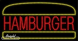 Hamburger LED Sign - 32 x 17 x 1 inches - Made in USA