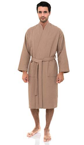 TowelSelections Men's Robe, Kimono Waffle Spa Bathrobe Large/X-Large Warm Taupe