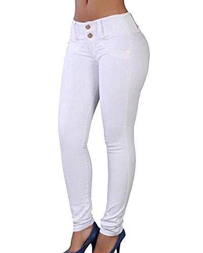 Blanc En Crayon Pantalons Stretch Skinny Jean Femme Denim Taille Haute Pantalon Slim npSwPxAUqf