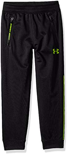 Under Armour Boys' Little Pennant Tapered Pant, Black/hi gh/vis Yellow, 6