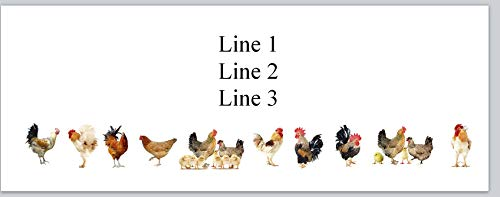 Chicken Labels Address - 150 Personalized Return Address Labels Chickens Rooster Hens Baby Chicks (bx 243)