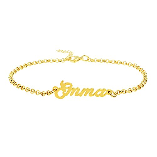 Personalized Name Bracelets 18k Gold Initial Custom Girls Women Popular Name Stainless Steel Chain Jewelry Gift Saying Emma