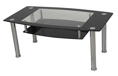 (AVF T12-A Black Glass & Chrome Coffee Table)
