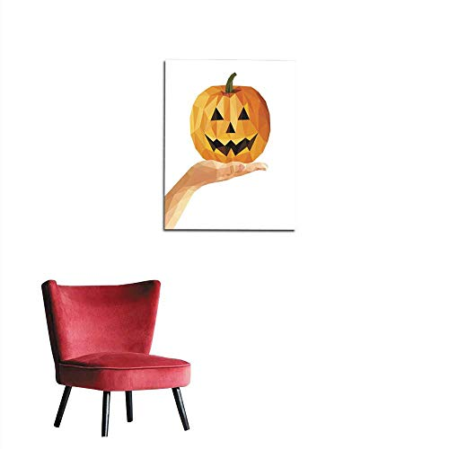 longbuyer Photo Wall Paper Polygonal Hand with Open Palm Holding a Pumpkin for Halloween Mural 20