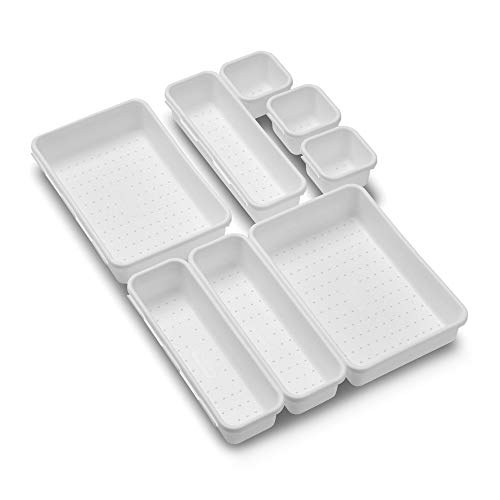 - madesmart Baby 8-Piece Interlocking Bin Pack - White | BABY COLLECTION | Customizable Multi-Purpose Storage | Organizer for Baby Care Products, Spoons or Wipes | BPA-Free