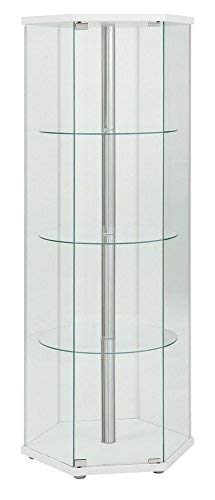 4-Shelf Glass Curio Cabinet Cappuccino and Clear
