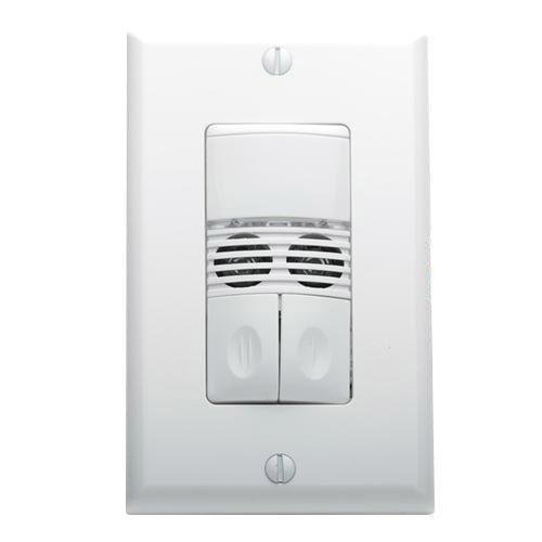 Wattstopper DSW-302-W Dual Technology (PIR and Ultrasonic) Dual Relay Occupancy Sensor 20 ft x 20 ft 120/277 Volt AC White