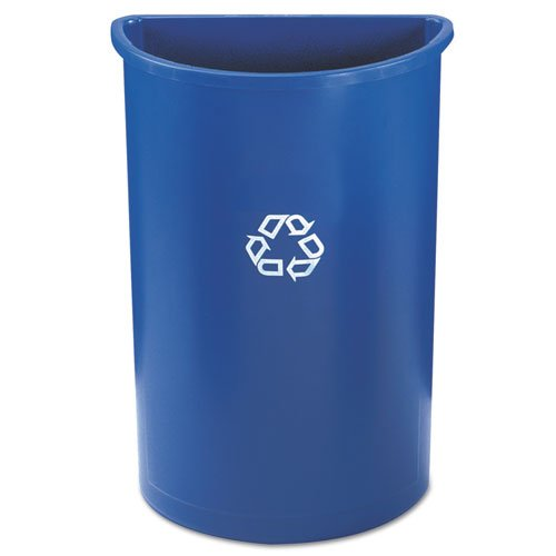 RCP352073BLU Half-Round Recycling Container, Plastic, 21 gal, Blue