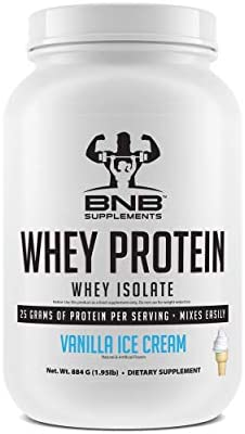100 Whey Protein Isolate – Vanilla Ice Cream Flavor – 25g of Protein Per Serving – 2lb Tub – Mixes Easily – Delicious Protein Recovery Shake – by BNB Supplements