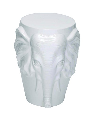Beautifully Sculpted Ceramic Elephant Face Stool with Glossy White Finish