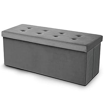 acheter populaire 14e14 dc1d7 IDMarket - Banc coffre rangement 100 cm en velours gris
