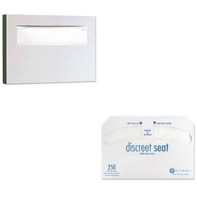KITBOB221HOSDS5000CT - Value Kit - Hospeco Discreet Half-Fold Toilet Seat Covers (HOSDS5000CT) and Bobrick Stainless Steel Toilet Seat Cover Dispenser (BOB221)