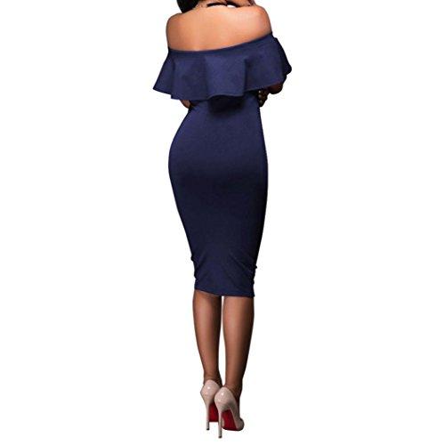 Robe d'paule obe cocktail des de mot Manche Robe des bustier dcontracte bal courte Un Fonc Sexy soire style Bleu de Serre HUHU833 7rqwrI