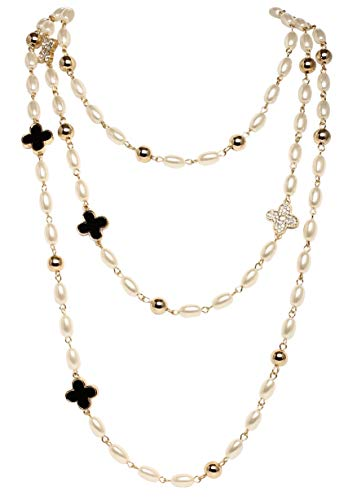 MISASHA Lady Imitation Pearl Camellia Charm Floral Necklace - Chanel Pearl Necklace