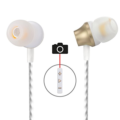 Earbuds with Selfie, Kicoeoy Wired in Ear Noise Isolating Headphone with Remote Mic & Volume Control Metal Housing Best Stereo Bass for All 3.5mm Audio Devices (Gold)
