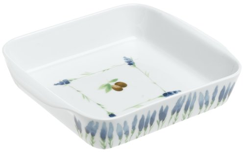 Pillivuyt Garrigue Square Baker, 8.75 inch, White/Lavender & Olive foliage