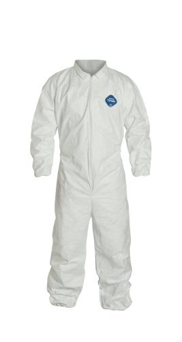 DuPont Tyvek 400 TY125S Disposable Protective Coverall with Elastic Cuffs, White, 6X-Large (Pack of 25)