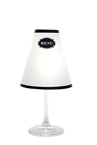 di Potter WS108 Modern Menu Paper White Wine Glass Shade, Parchment (Pack of 6)