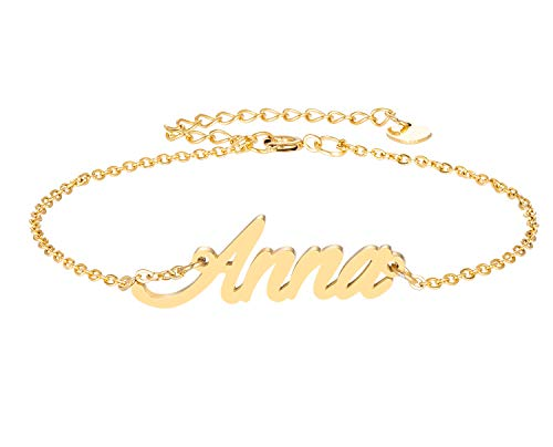 - HUAN XUN Anna Name Bracelet for Womens Girls Jewelry Gifts Stainless Steel