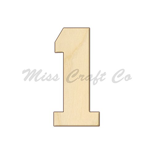 College Number 1 Wood Shape Cutout, Wood Craft Shape, Unfinished Wood, DIY Project. All Sizes Available, Small to Big. Made in the USA. 12 X 5.5 INCHES