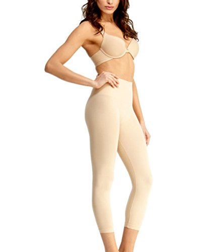 (SlimMe High Waist Tummy Control Shapewear Leggings, Nude Shapewear Large)