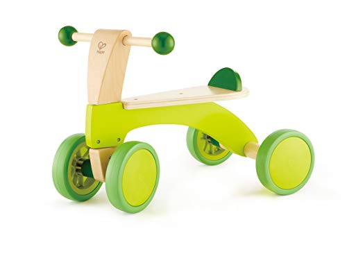 (Hape Scoot Around Ride On Wood Bike | Award Winning Four Wheeled Wooden Push Balance Bike Toy for Toddlers with Rubberized Wheels, Bright Green)