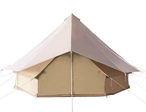 Canvas Tent for Family Camping All Seasons Waterproof Outdoors Large Yurt Bell Tent Glamping