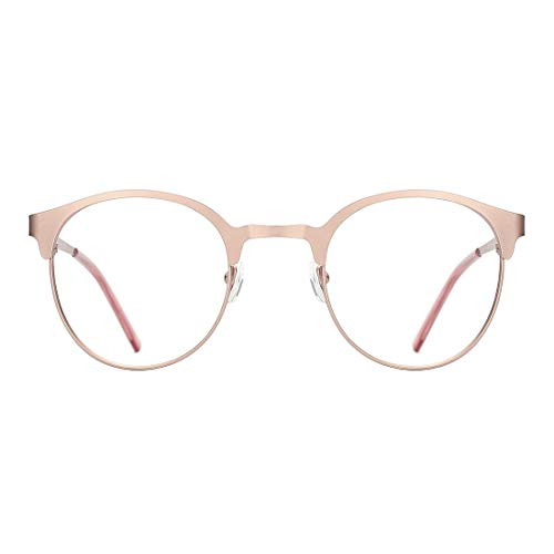 TIJN New Round Designer Metal Eyeglasses Frames with Clear Lens (Rose Gold, ()